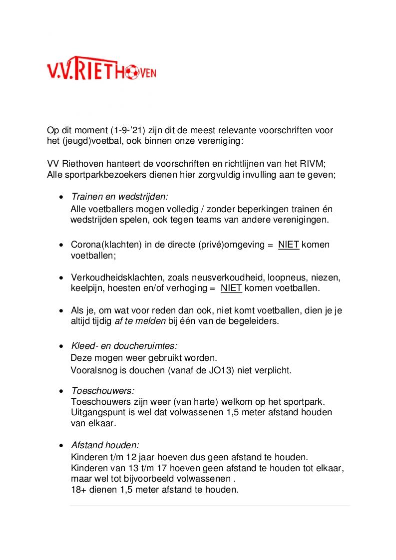 Voorschriften opstart jeugdvoetbal (per 1-9-21)